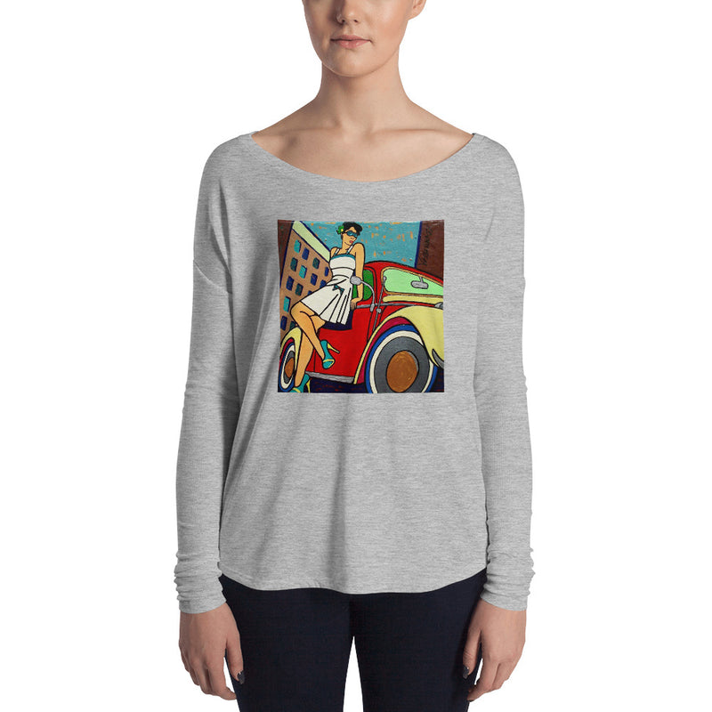 Ladies' Long Sleeve Tee - VW Girl by Vlado V - we wear art