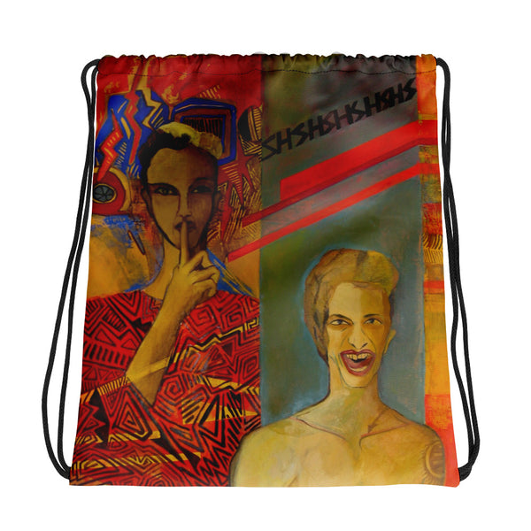 Drawstring bag - Shshshsa by Ariela W - we wear art