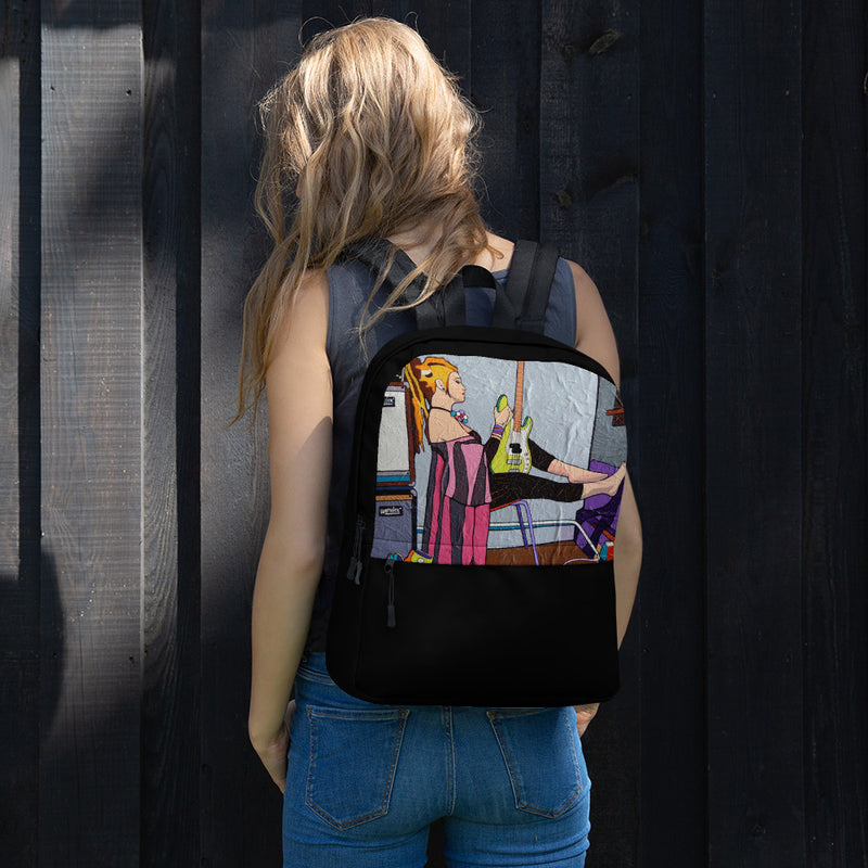 Backpack - The Guitar Girl by Vlado V - we wear art