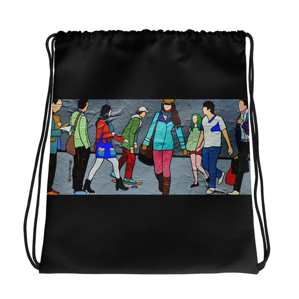 Drawstring bag - The Walk by Vlado V - we wear art