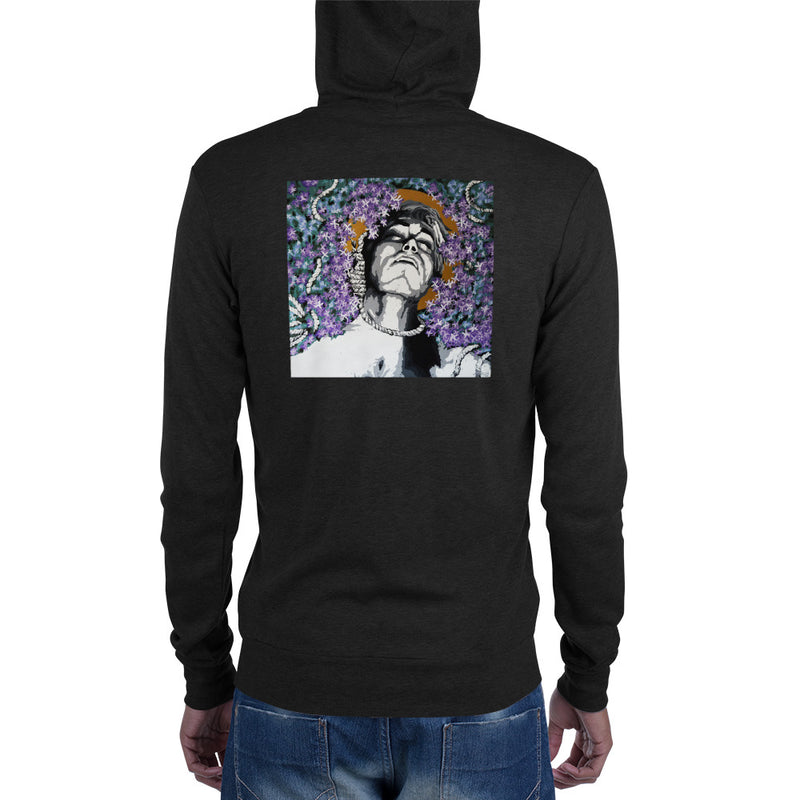 Unisex zip hoodie - Purple Hang by Szymon K - we wear art