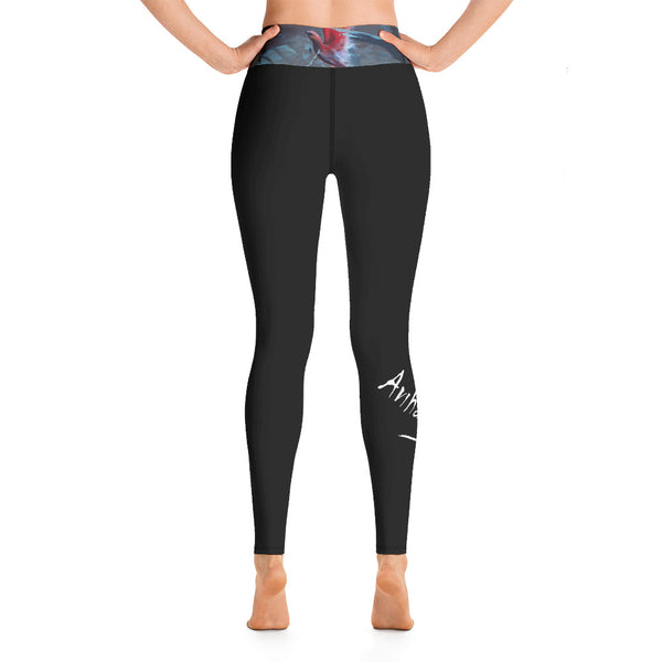 Yoga Leggings - Pink Bird by Avichai C - we wear art