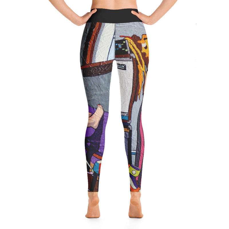 Yoga Leggings - Guitar girl by Vlado V - we wear art