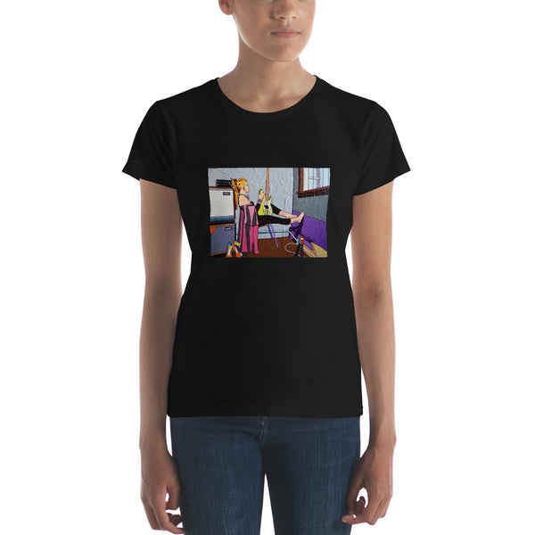 Women's short sleeve t-shirt - Window Girl by Vlado V - we wear art