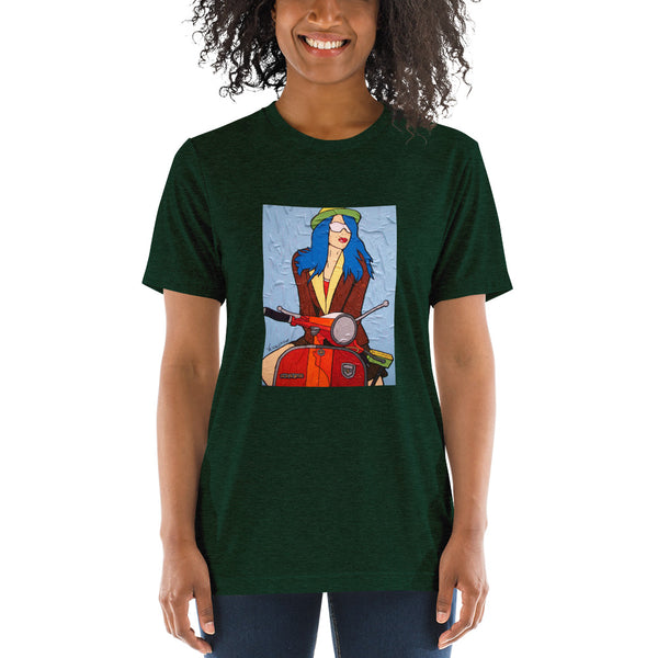Short sleeve t-shirt - Italian Vespa Girl by Vlado V - we wear art