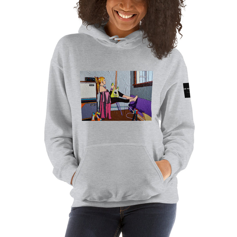 Hooded Sweatshirt - Guitar Girl by Vlado V - we wear art