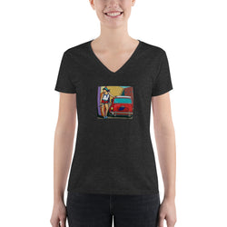 Women's Fashion Deep V-neck Tee - Mini Cooper Girl by Vlado V - we wear art