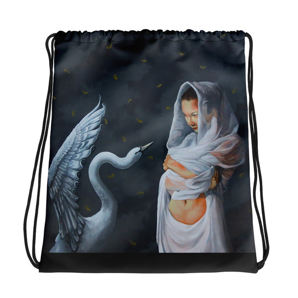 Drawstring bag - The Swan by Avichai C - we wear art