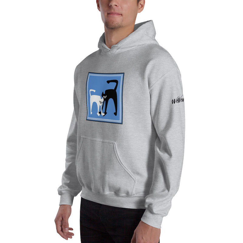 Hooded Sweatshirt - B&W cat by RL - we wear art
