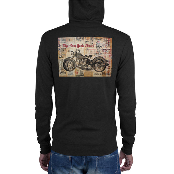 Unisex zip hoodie - The Bike by Eric B - we wear art