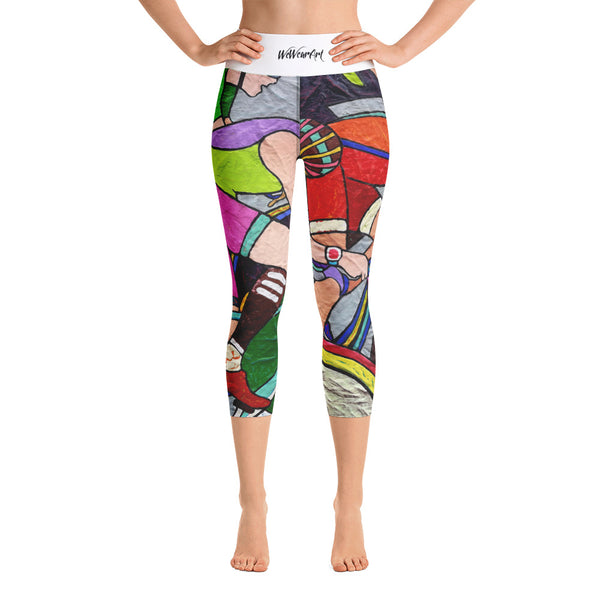 Yoga Capri Leggings - Tour de France by Vlado V - we wear art