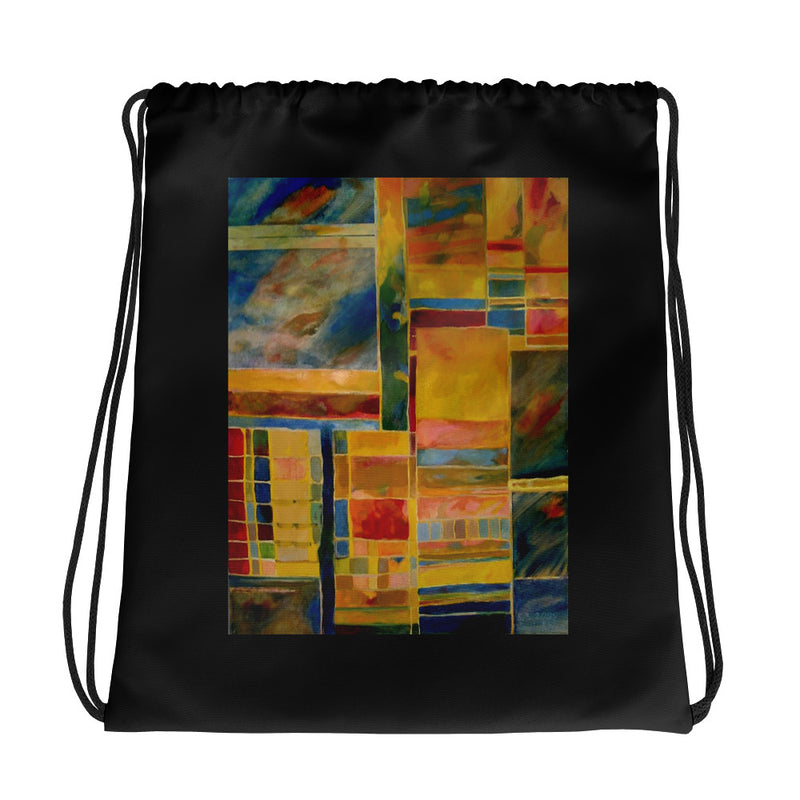 Drawstring bag - Golden Abstract by Ariela W - we wear art