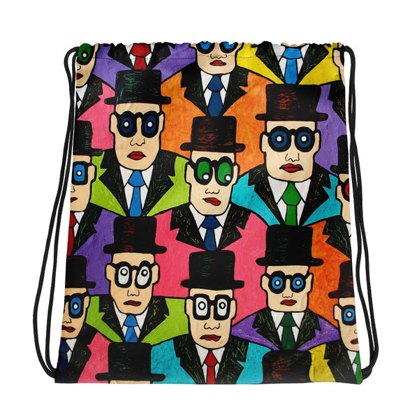 Drawstring bag - Faces by Vlado V - we wear art