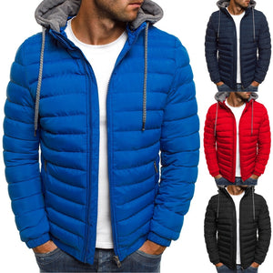Causal Zipper Winter Jacket for Men Hooded Coat