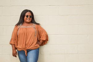 Caramel 3/4 Sleeve Embroidered Woven Top (Curvy)