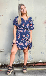 Navy Floral Drawstring Dress