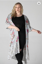 Load image into Gallery viewer, Sheer Floral Kimono (Curvy)