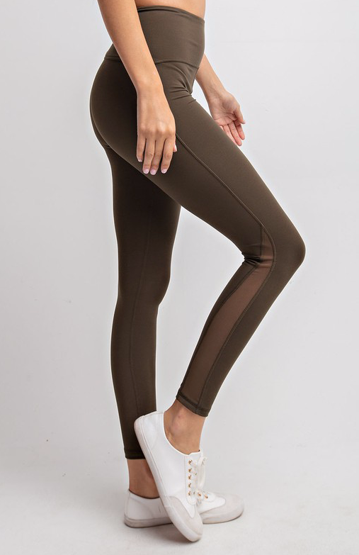 Mesh Side Olive Athletic Leggings