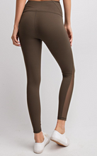 Load image into Gallery viewer, Mesh Side Olive Athletic Leggings