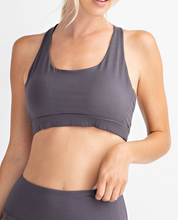Load image into Gallery viewer, Charcoal Mesh Back Sports Bra