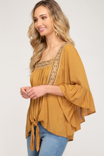 Load image into Gallery viewer, Caramel 3/4 Sleeve Embroidered Woven Top (Curvy)