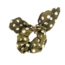 Load image into Gallery viewer, Olive Dotted Tie Scrunchie