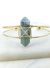 Katarina Stone Wrapped Brass Cuff