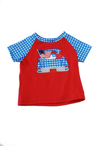 Blue Gingham Patriotic Flag Shirt