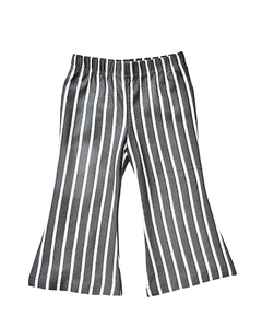 Boho Bell Bottoms - Dark Gray & White Stripe