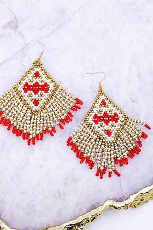 Jasmine Bead Fringe Tassel Earrings