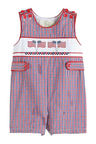 Red and Blue Gingham Seersucker Patriotic JonJon