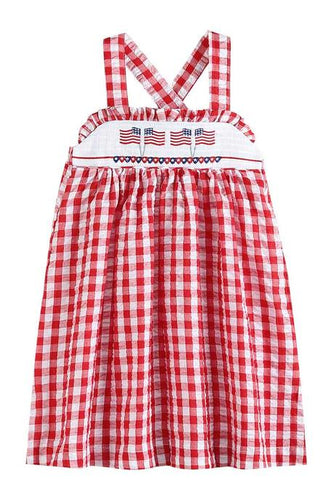 Red Gingham Seersucker Patriotic Smocked Dress