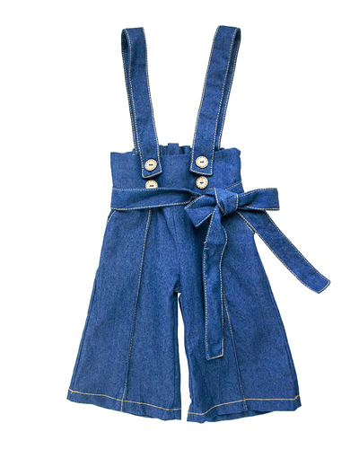 Suspender Bell Bottom Jumpsuit - Dark Denim