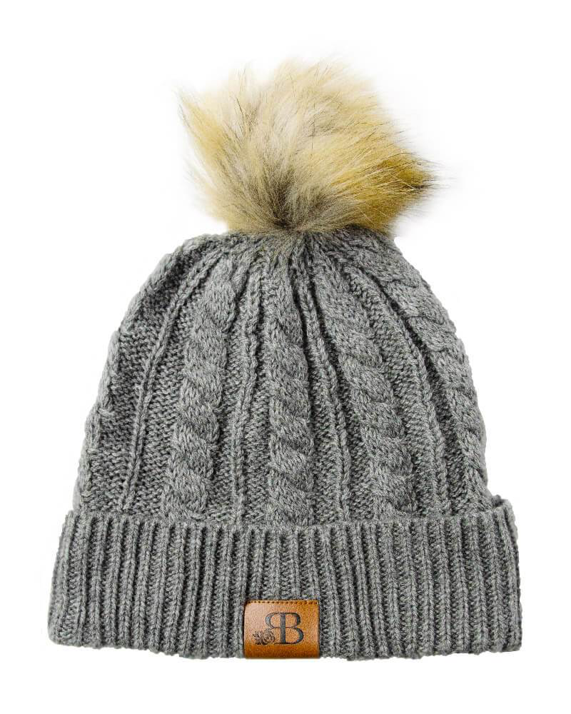 Knit Pom Pom Beanie - Winter Gray
