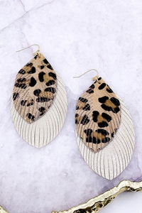 Fringed Gold and Leather earrings