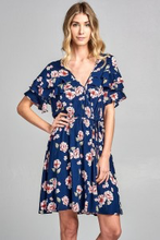 Load image into Gallery viewer, Navy Floral Drawstring Dress
