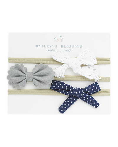 Bow Headband Variety Pack - Lace, Gray and Navy Dot
