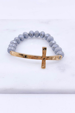 Load image into Gallery viewer, Glass Bead Cross Bracelet (Grey)