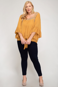 Caramel 3/4 Sleeve Embroidered Woven Top