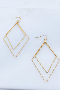 Matte Gold Hammered Diamond Earrings