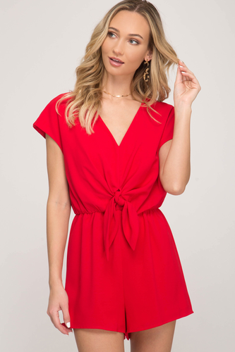 Drop Shoulder Romper Red