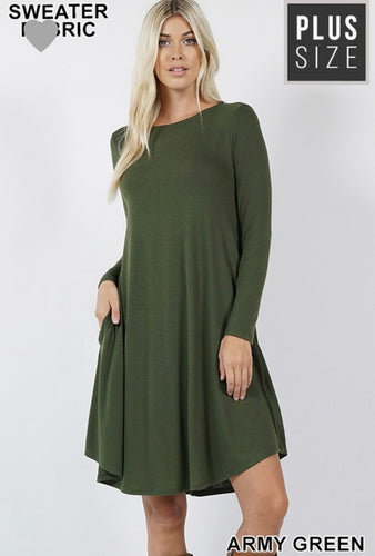 Charlotte Dress - Army Green (Curvy)