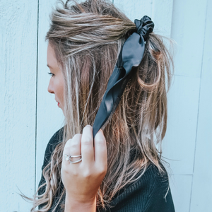 Solid Black Darling Scrunchie