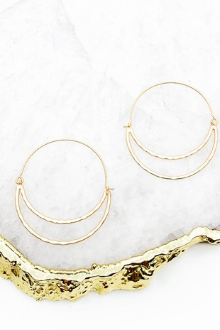 Hallie Crescent Hammered Cut Out Earrings