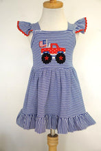 Load image into Gallery viewer, Patriotic Truck Applique Dress 2T