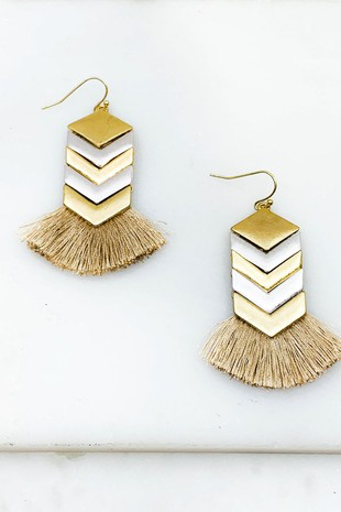 Molly Chevron Tassel Earrings
