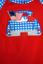 Load image into Gallery viewer, Blue Gingham Patriotic Flag Shirt