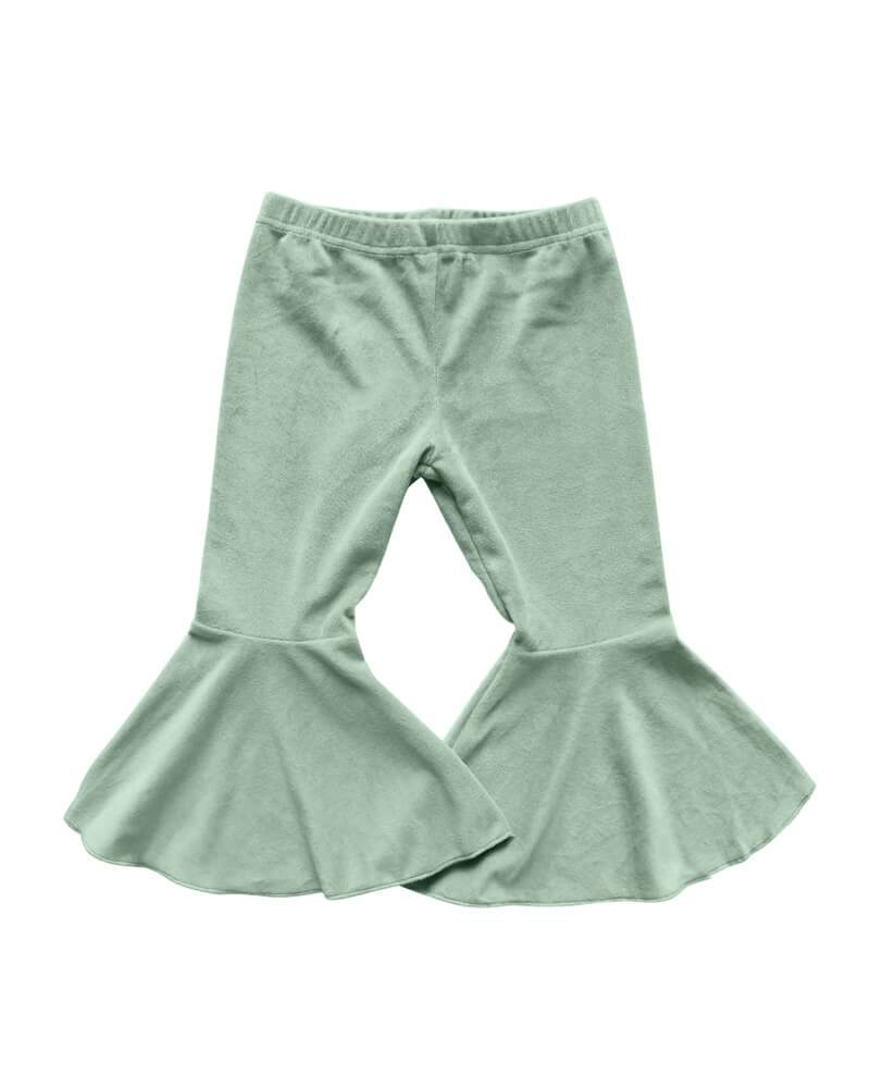 Velour Pleated Bell Bottoms - Sage