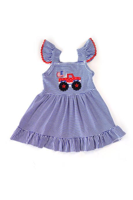 Patriotic Truck Applique Dress 2T