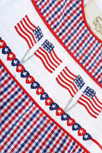 Load image into Gallery viewer, Red and Blue Gingham Seersucker Patriotic JonJon